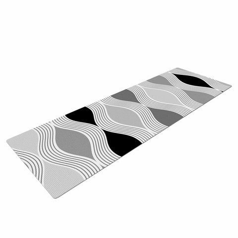 "Julia Grifol ""Waves In Gray"" White Gray Geometric Pattern Digital Vector Yoga Mat"