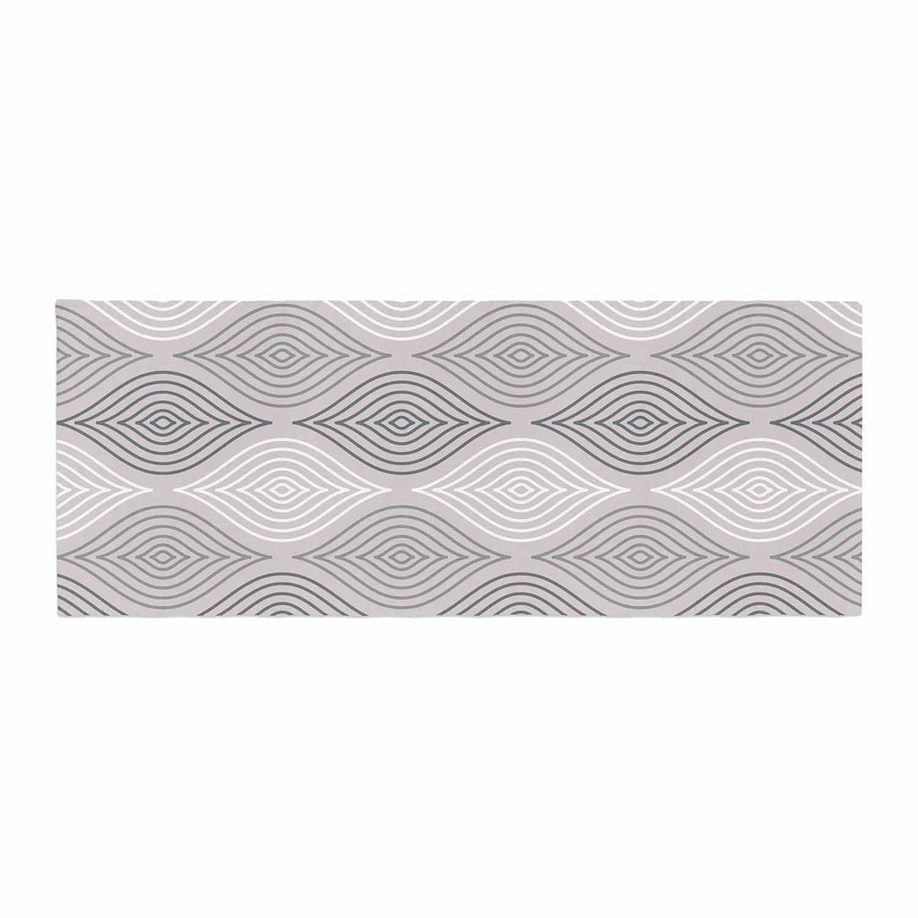 "Julia Grifol ""Peaceful Time"" Gray White Geometric Pattern Vector Digital Bed Runner"