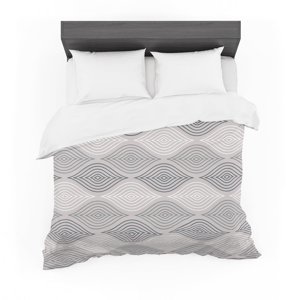 "Julia Grifol ""Peaceful Time"" Gray White Geometric Pattern Vector Digital Featherweight Duvet Cover"