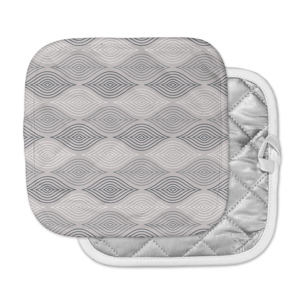 "Julia Grifol ""Peaceful Time"" Gray White Geometric Pattern Vector Digital Pot Holder"