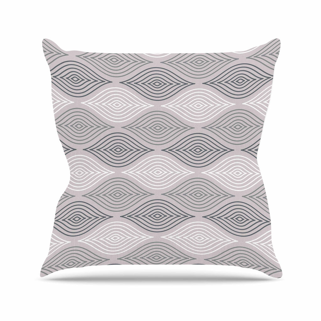 "Julia Grifol ""Peaceful Time"" Gray White Geometric Pattern Vector Digital Throw Pillow"
