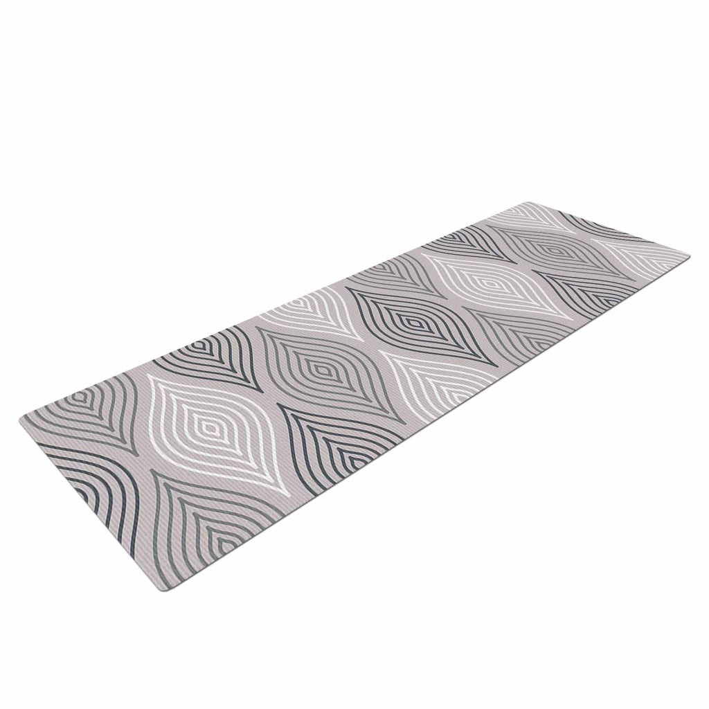 "Julia Grifol ""Peaceful Time"" Gray White Geometric Pattern Vector Digital Yoga Mat"