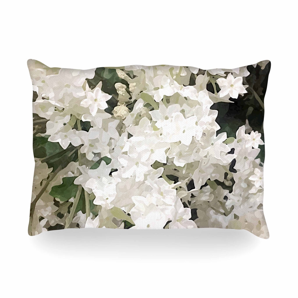 "Julia Grifol ""Small White Flowers"" White Gray Floral Nature Vector Digital Oblong Pillow"