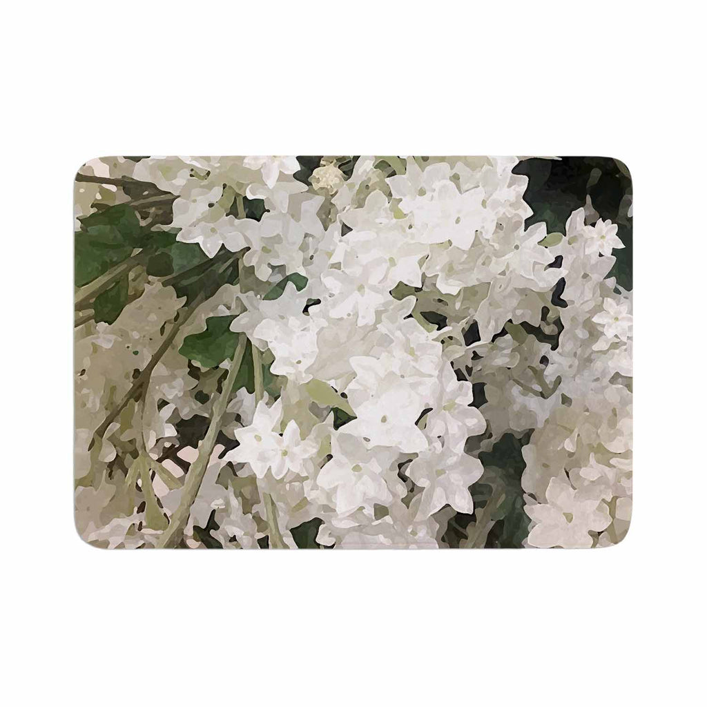 "Julia Grifol ""Small White Flowers"" White Gray Floral Nature Vector Digital Memory Foam Bath Mat"