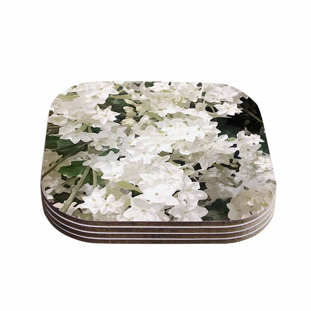 "Julia Grifol ""Small White Flowers"" White Gray Floral Nature Vector Digital Coasters (Set of 4)"