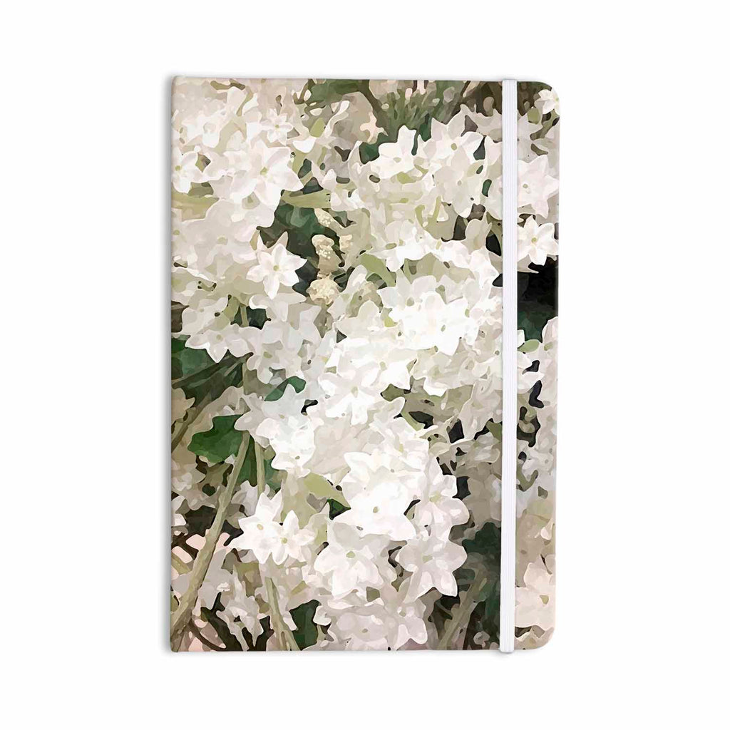 "Julia Grifol ""Small White Flowers"" White Gray Floral Nature Vector Digital Everything Notebook"