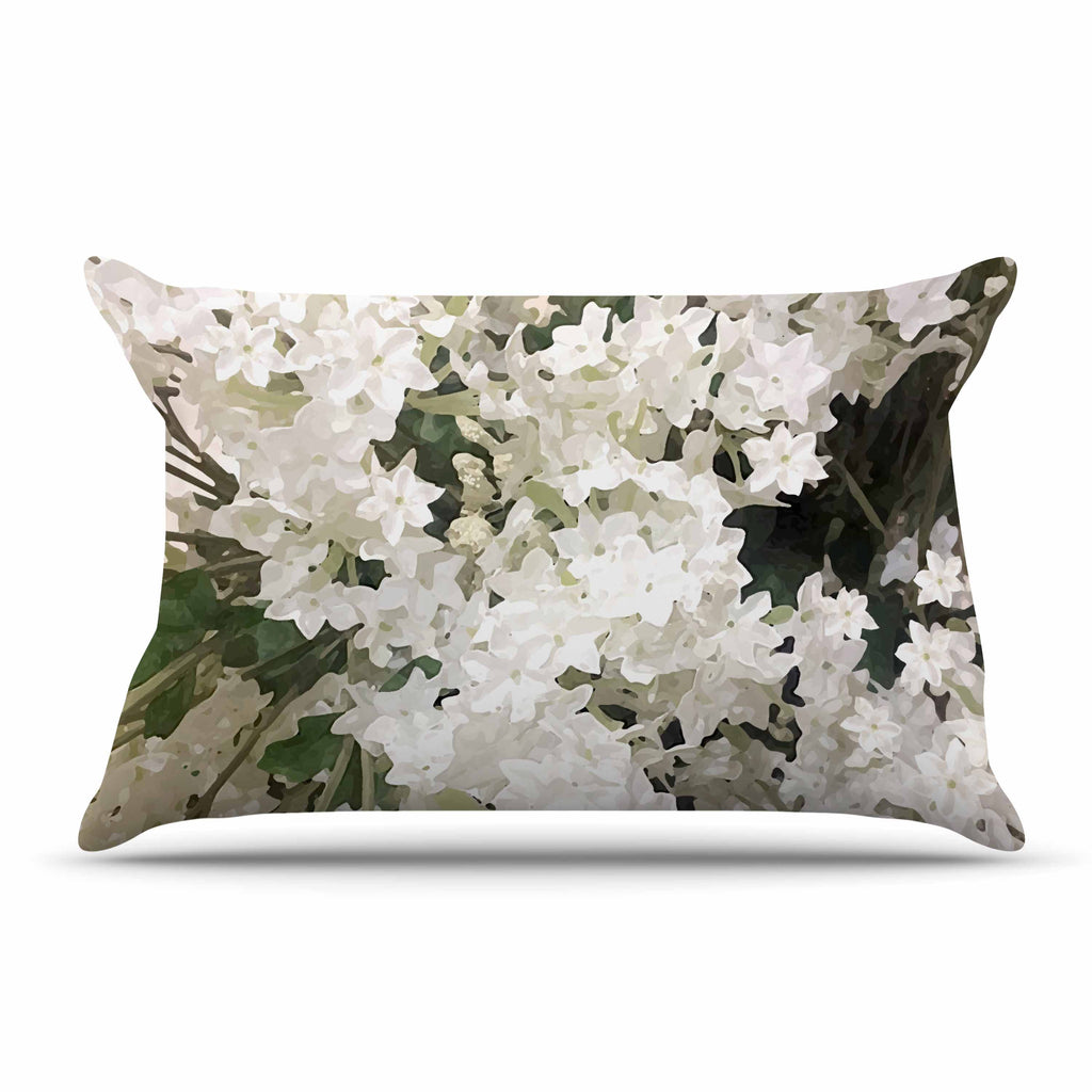"Julia Grifol ""Small White Flowers"" White Gray Floral Nature Vector Digital Pillow Sham"
