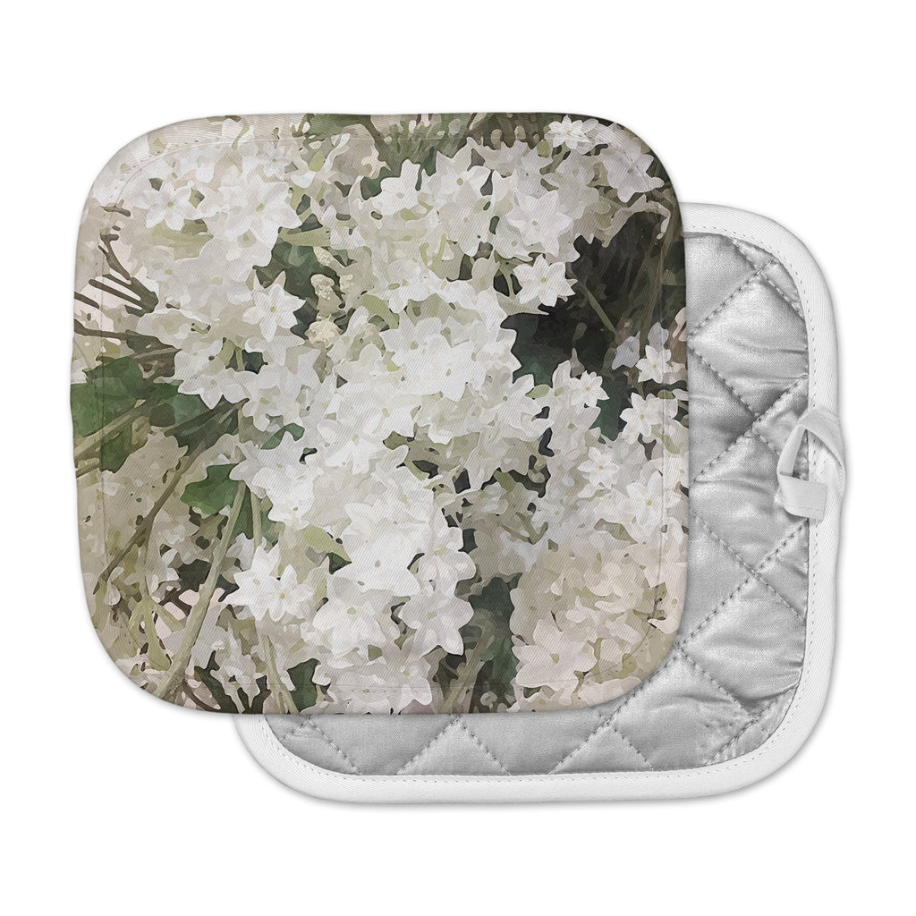 Small White Flowers Pot Holder By Julia Grifol Kess Inhouse