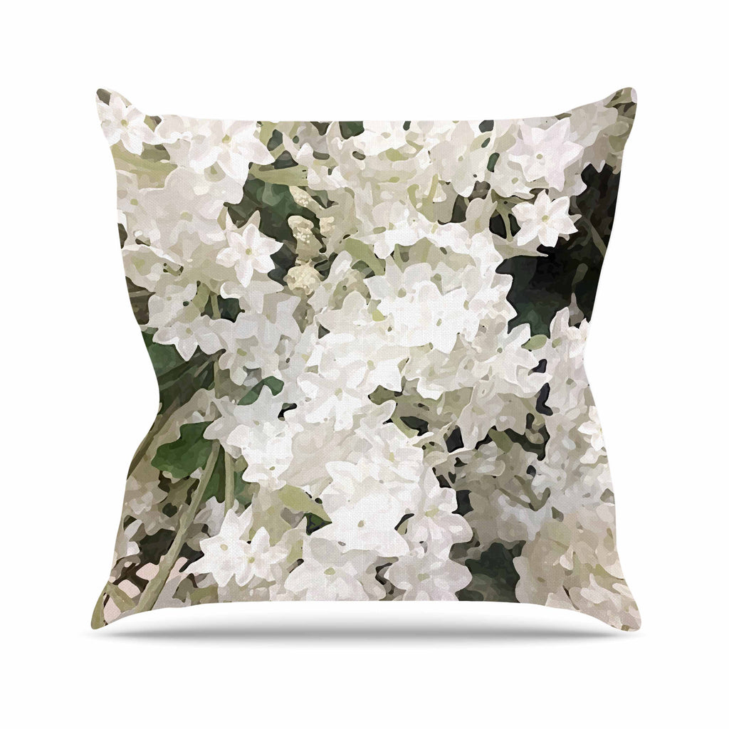 "Julia Grifol ""Small White Flowers"" White Gray Floral Nature Vector Digital Throw Pillow"