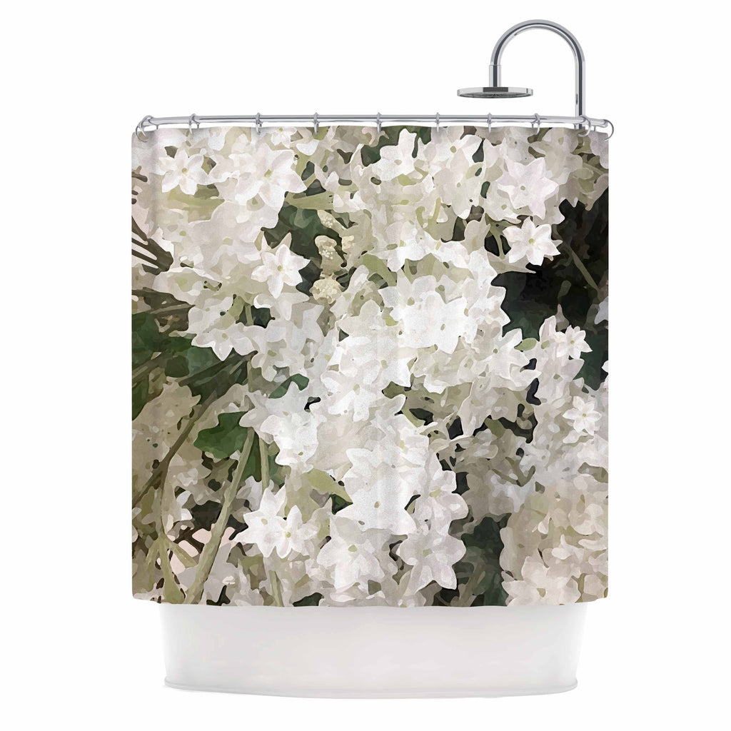 "Julia Grifol ""Small White Flowers"" White Gray Floral Nature Vector Digital Shower Curtain"