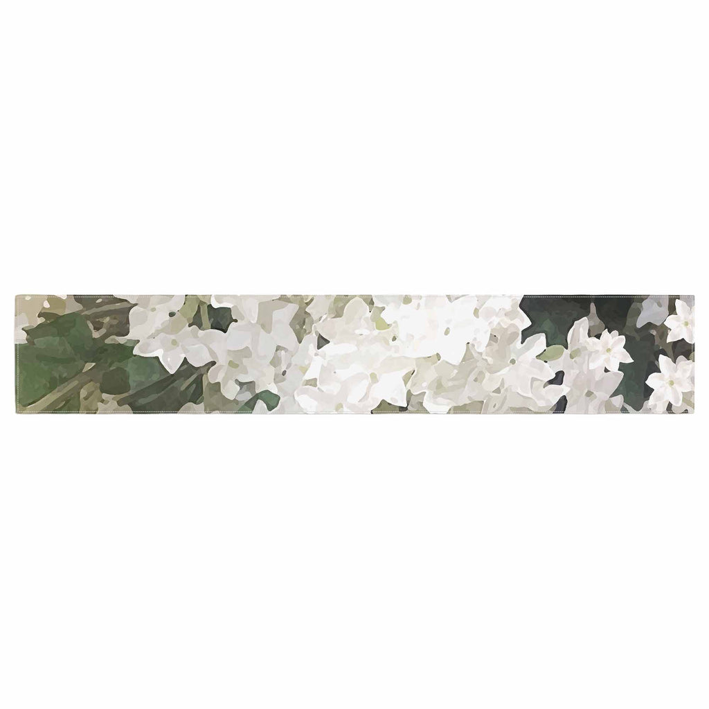 "Julia Grifol ""Small White Flowers"" White Gray Floral Nature Vector Digital Table Runner"