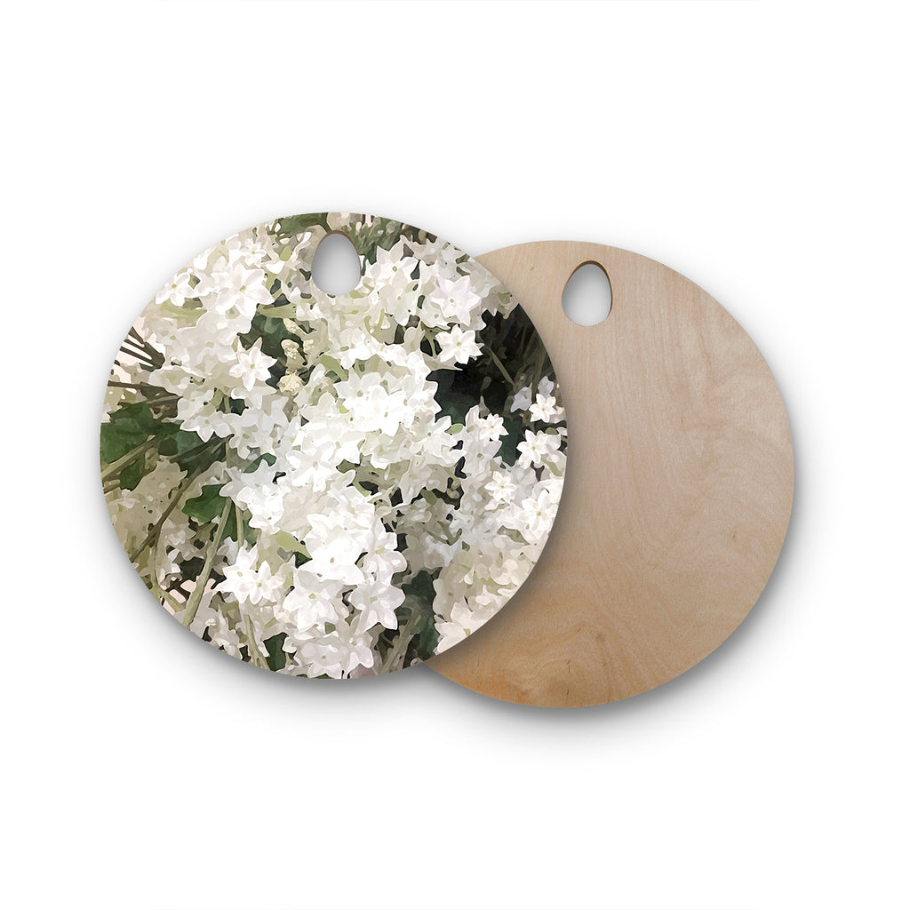 "Julia Grifol ""Small White Flowers"" White Gray Floral Nature Vector Digital Round Wooden Cutting Board"