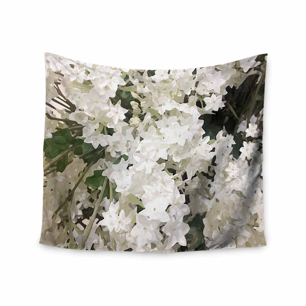 "Julia Grifol ""Small White Flowers"" White Gray Floral Nature Vector Digital Wall Tapestry"