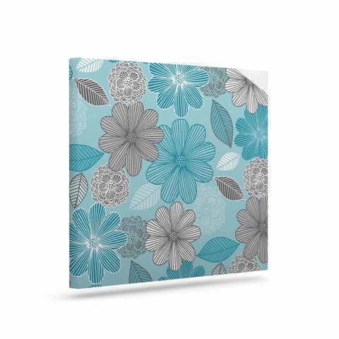 "Julia Grifol ""Lovely Blue Flowers"" Blue Gray Floral Pattern Vector Digital Art Canvas"