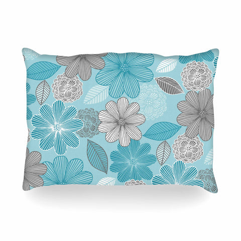 "Julia Grifol ""Lovely Blue Flowers"" Blue Gray Floral Pattern Vector Digital Oblong Pillow"