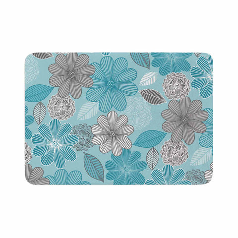 "Julia Grifol ""Lovely Blue Flowers"" Blue Gray Floral Pattern Vector Digital Memory Foam Bath Mat"