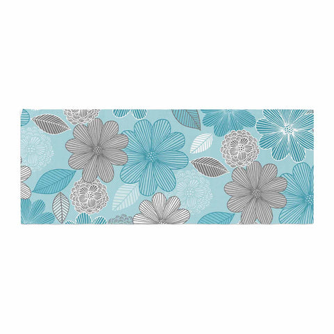 "Julia Grifol ""Lovely Blue Flowers"" Blue Gray Floral Pattern Vector Digital Bed Runner"