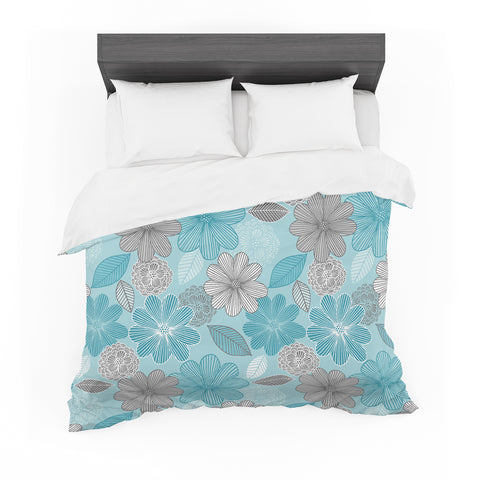 "Julia Grifol ""Lovely Blue Flowers"" Blue Gray Floral Pattern Vector Digital Featherweight Duvet Cover"