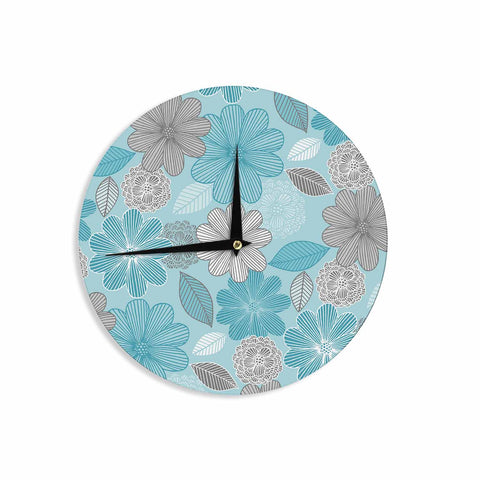 "Julia Grifol ""Lovely Blue Flowers"" Blue Gray Floral Pattern Vector Digital Wall Clock"