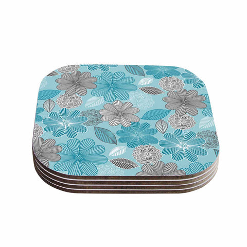 "Julia Grifol ""Lovely Blue Flowers"" Blue Gray Floral Pattern Vector Digital Coasters (Set of 4)"