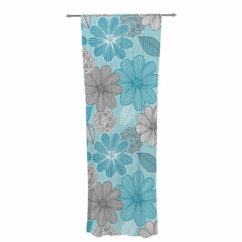 "Julia Grifol ""Lovely Blue Flowers"" Blue Gray Floral Pattern Vector Digital Decorative Sheer Curtain"