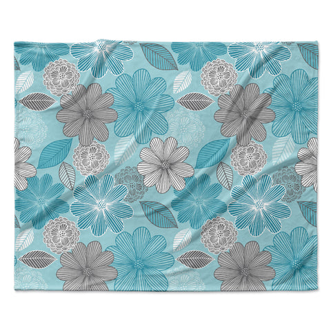 "Julia Grifol ""Lovely Blue Flowers"" Blue Gray Floral Pattern Vector Digital Fleece Throw Blanket"