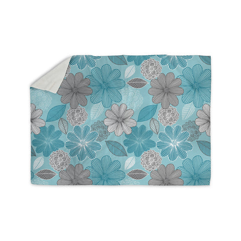 "Julia Grifol ""Lovely Blue Flowers"" Blue Gray Floral Pattern Vector Digital Sherpa Blanket"