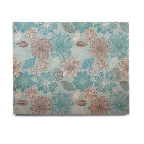 "Julia Grifol ""Lovely Blue Flowers"" Blue Gray Floral Pattern Vector Digital Birchwood Wall Art"