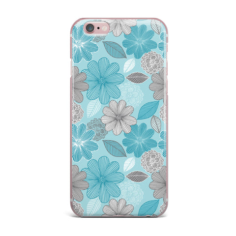 "Julia Grifol ""Lovely Blue Flowers"" Blue Gray Floral Pattern Vector Digital iPhone Case"