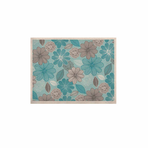 "Julia Grifol ""Lovely Blue Flowers"" Blue Gray Floral Pattern Vector Digital KESS Naturals Canvas (Frame not Included)"