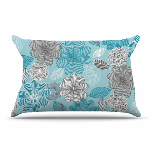 "Julia Grifol ""Lovely Blue Flowers"" Blue Gray Floral Pattern Vector Digital Pillow Sham"