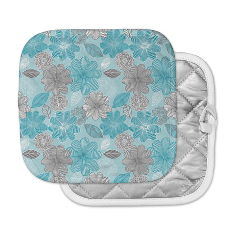 "Julia Grifol ""Lovely Blue Flowers"" Blue Gray Floral Pattern Vector Digital Pot Holder"