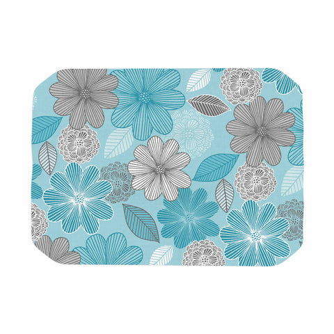 "Julia Grifol ""Lovely Blue Flowers"" Blue Gray Floral Pattern Vector Digital Place Mat"