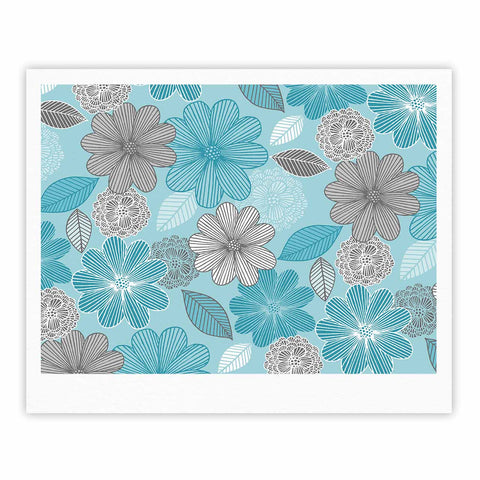 "Julia Grifol ""Lovely Blue Flowers"" Blue Gray Floral Pattern Vector Digital Fine Art Gallery Print"