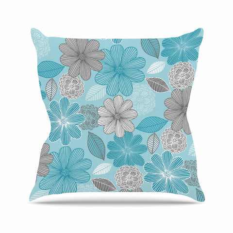 "Julia Grifol ""Lovely Blue Flowers"" Blue Gray Floral Pattern Vector Digital Outdoor Throw Pillow"