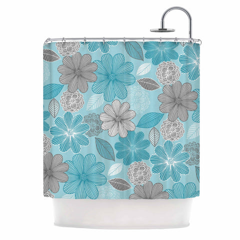 "Julia Grifol ""Lovely Blue Flowers"" Blue Gray Floral Pattern Vector Digital Shower Curtain"