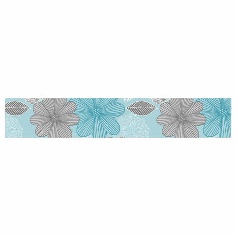 "Julia Grifol ""Lovely Blue Flowers"" Blue Gray Floral Pattern Vector Digital Table Runner"