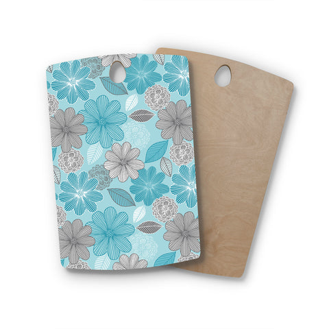 "Julia Grifol ""Lovely Blue Flowers"" Blue Gray Floral Pattern Vector Digital Rectangle Wooden Cutting Board"
