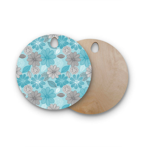 "Julia Grifol ""Lovely Blue Flowers"" Blue Gray Floral Pattern Vector Digital Round Wooden Cutting Board"