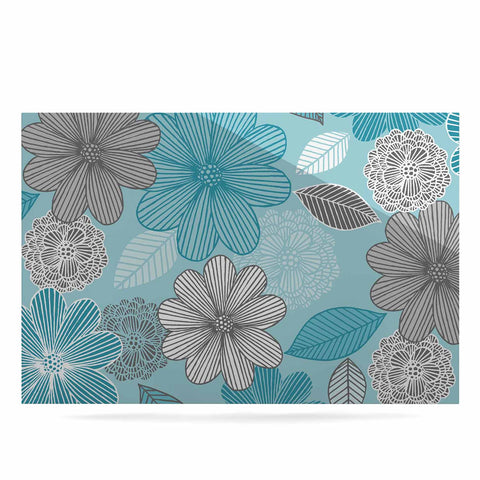 "Julia Grifol ""Lovely Blue Flowers"" Blue Gray Floral Pattern Vector Digital Luxe Rectangle Panel"