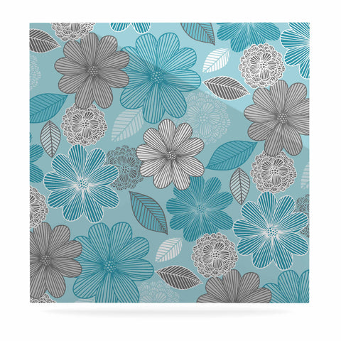 "Julia Grifol ""Lovely Blue Flowers"" Blue Gray Floral Pattern Vector Digital Luxe Square Panel"