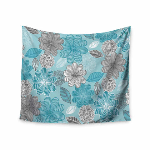 "Julia Grifol ""Lovely Blue Flowers"" Blue Gray Floral Pattern Vector Digital Wall Tapestry"
