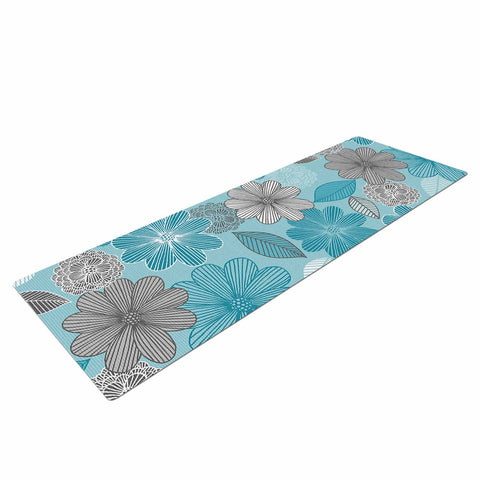"Julia Grifol ""Lovely Blue Flowers"" Blue Gray Floral Pattern Vector Digital Yoga Mat"