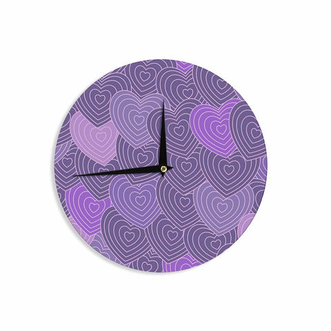 "Julia Grifol ""Violet Crazy Love"" Purple Pattern Geometric Vector Digital Wall Clock"