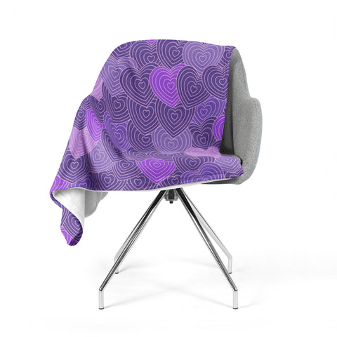 "Julia Grifol ""Violet Crazy Love"" Purple Pattern Geometric Vector Digital Fleece Throw Blanket"