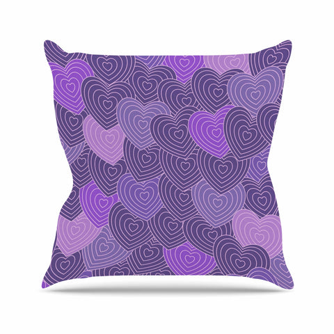 "Julia Grifol ""Violet Crazy Love"" Purple Pattern Geometric Vector Digital Outdoor Throw Pillow"