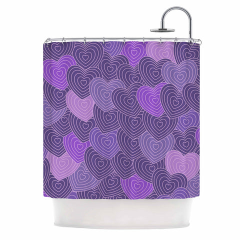"Julia Grifol ""Violet Crazy Love"" Purple Pattern Geometric Vector Digital Shower Curtain"