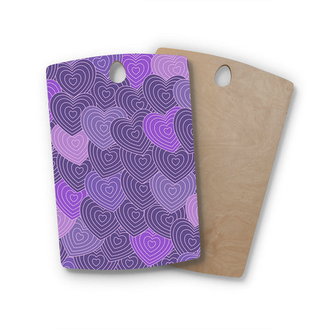 "Julia Grifol ""Violet Crazy Love"" Purple Pattern Geometric Vector Digital Rectangle Wooden Cutting Board"