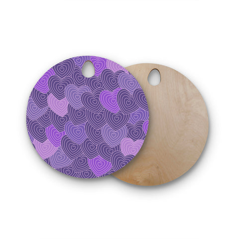 "Julia Grifol ""Violet Crazy Love"" Purple Pattern Geometric Vector Digital Round Wooden Cutting Board"