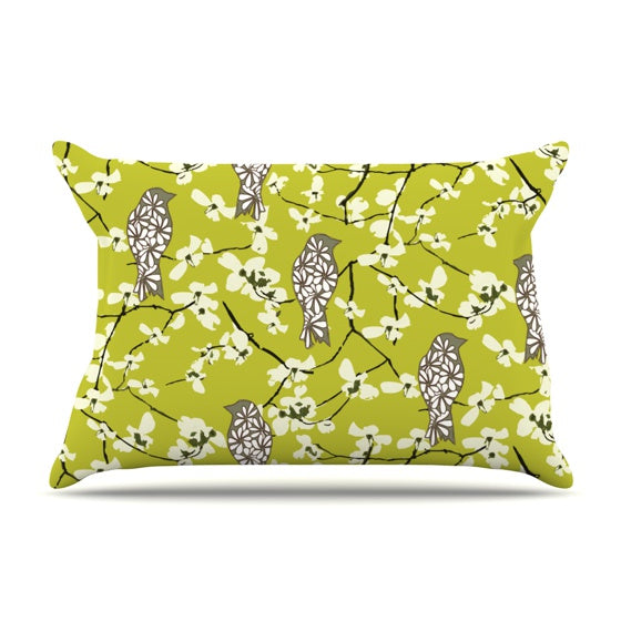 "Julie Hamilton ""Blossom Bird"" Pillow Case - KESS InHouse  - 1"